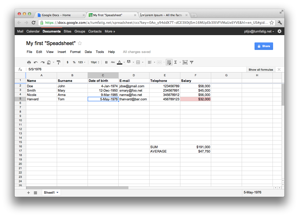 Google Docs Spreadsheet