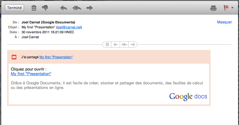 Google Docs URL to document
