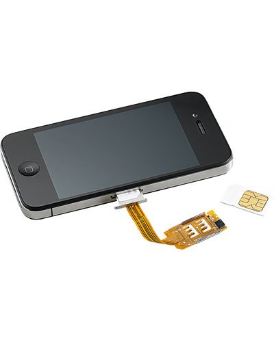 iPhone with dual-sim adapter