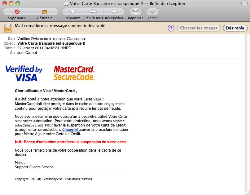 Votre Carte Bancaire est suspendue !!
