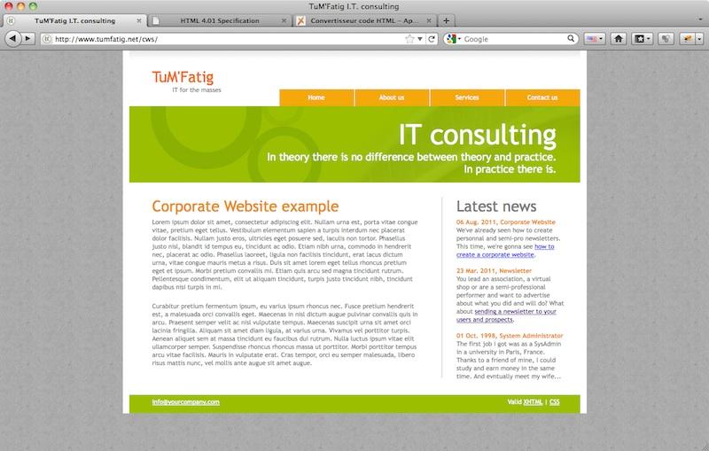 Corporate Website content