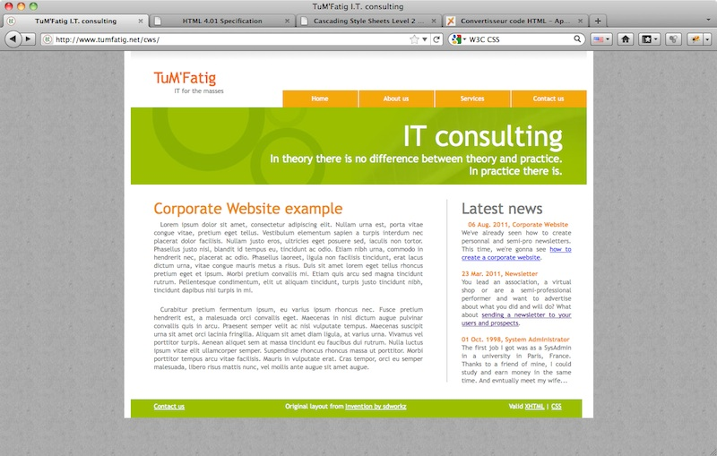 Corporate Website content justifying