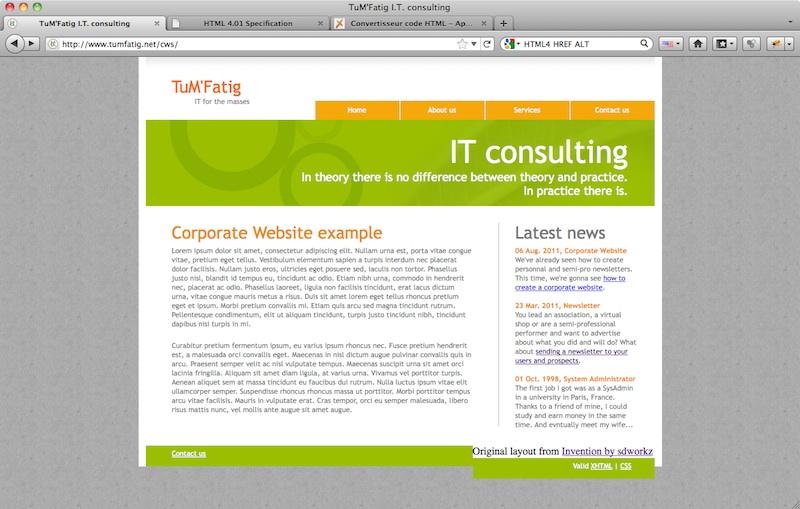 Corporate Website footer