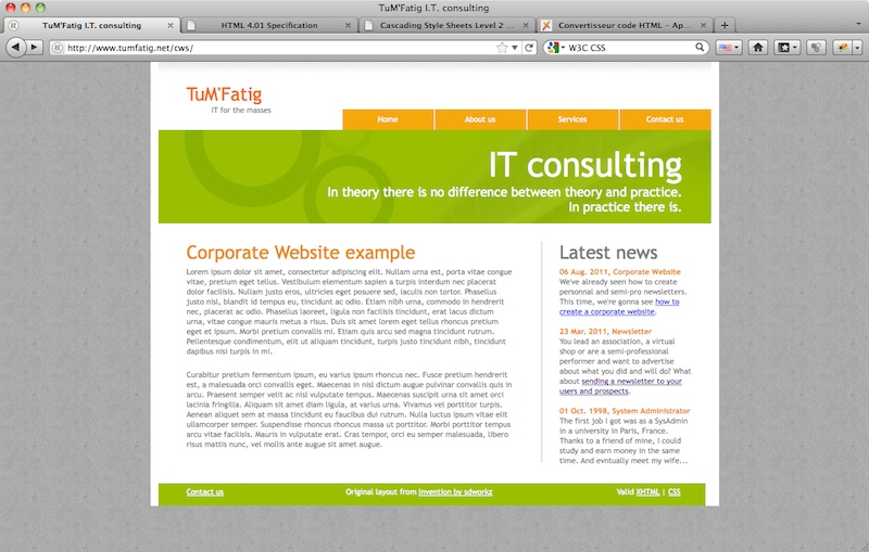 Corporate Website correct footer