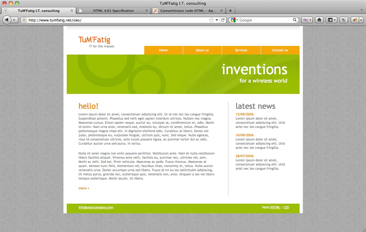 Corporate Website menu