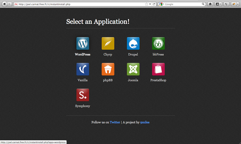 The Install Install selection page