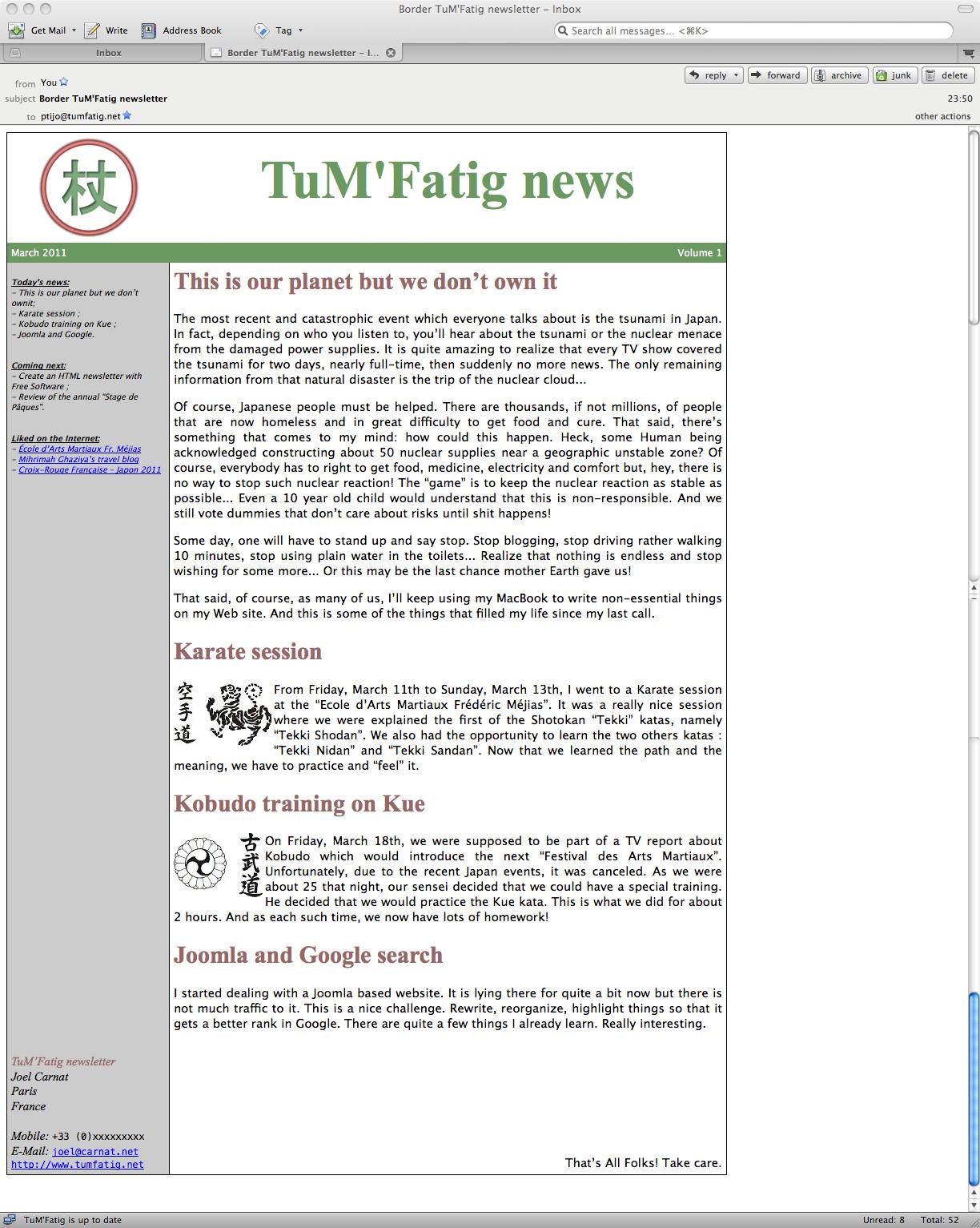 TuM'Fatig HTML newsletter