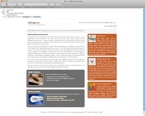 Newsletter rendered on Mac Mail