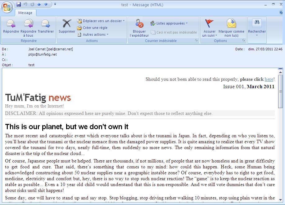Newsletter rendered on Outlook