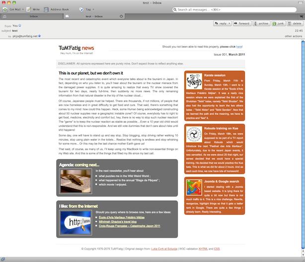 Newsletter rendered on Thunderbird