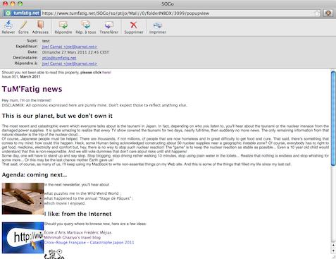 Newsletter rendered on SOGo Webmail