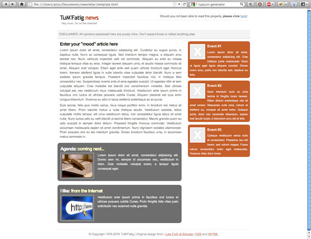 Newsletter's template