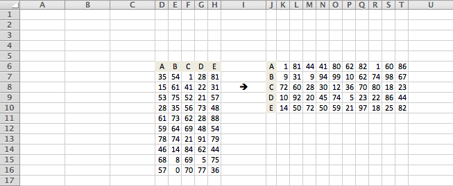 Excel, transpose columns and rows