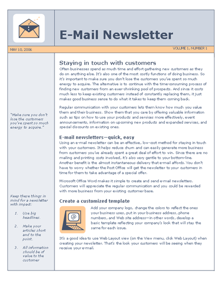 MS Word e-mail template