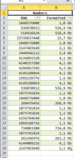Excel numbers