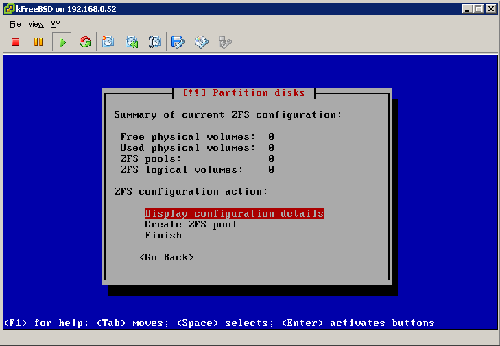 Empty ZFS config