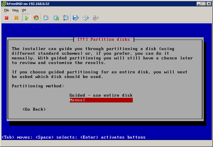 Manual partitionning disks