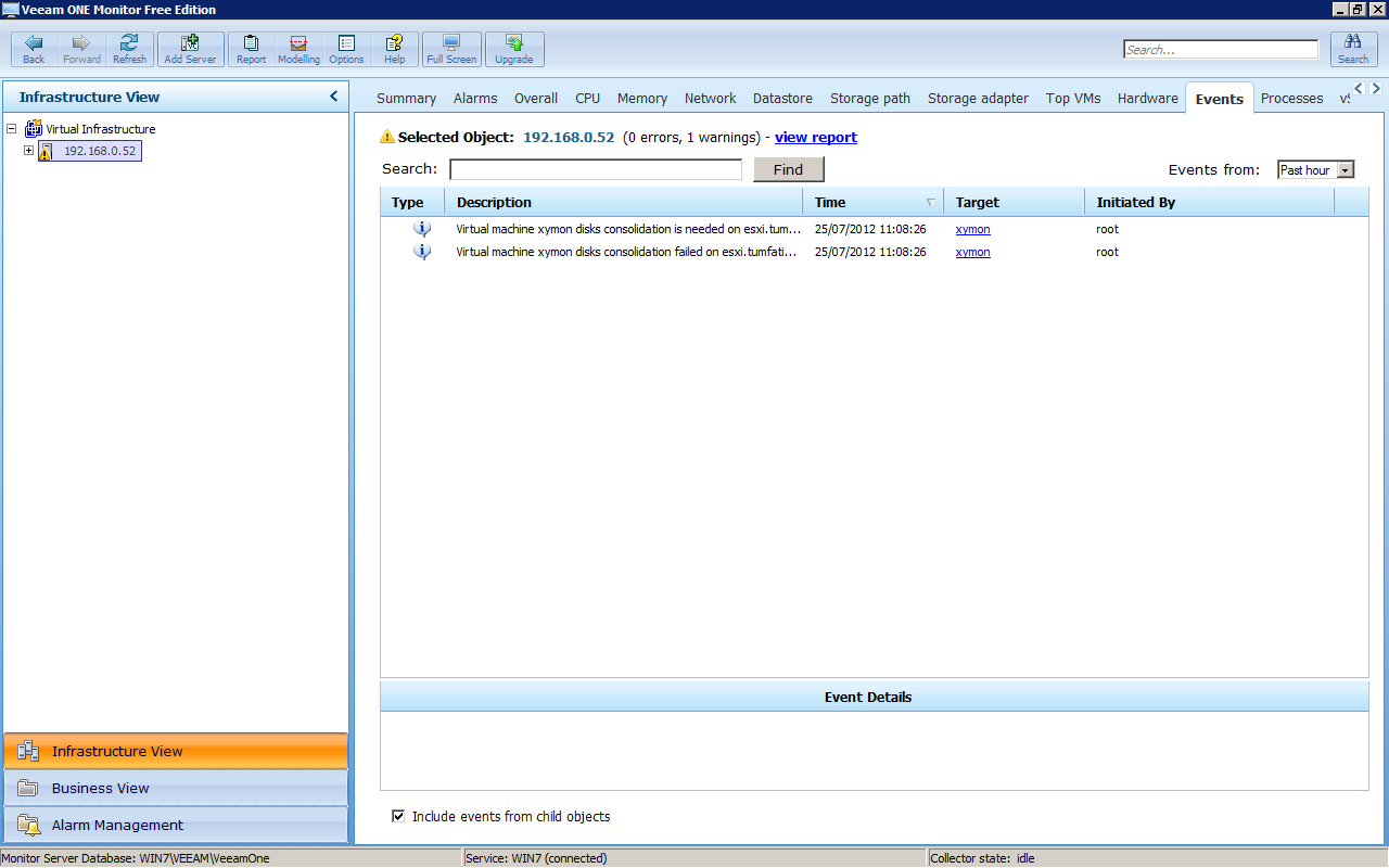 Veeam ONE Monitor, events