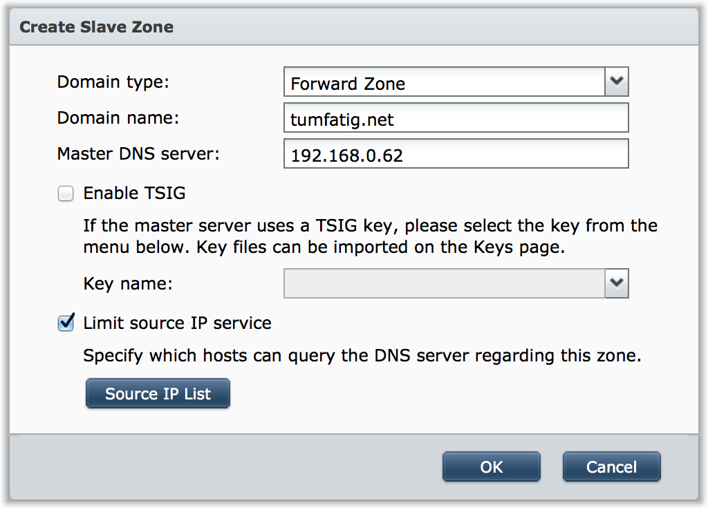 Dialog box to configure new DNS slave zone