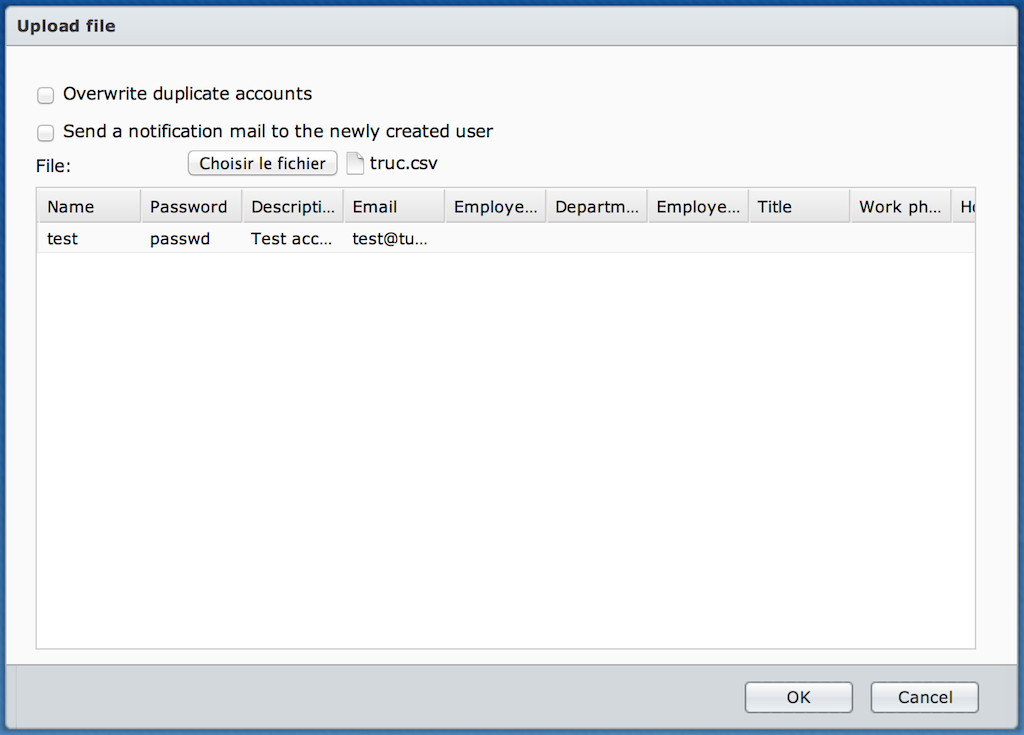 Importing user data from a CSV file