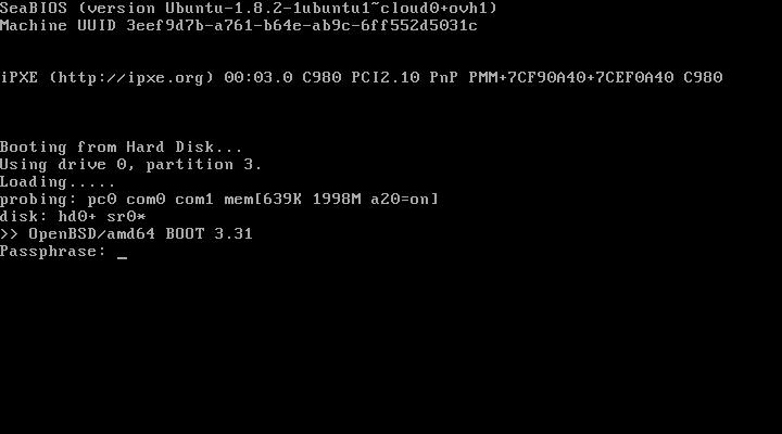 OVH - Passphrase on OpenBSD boot