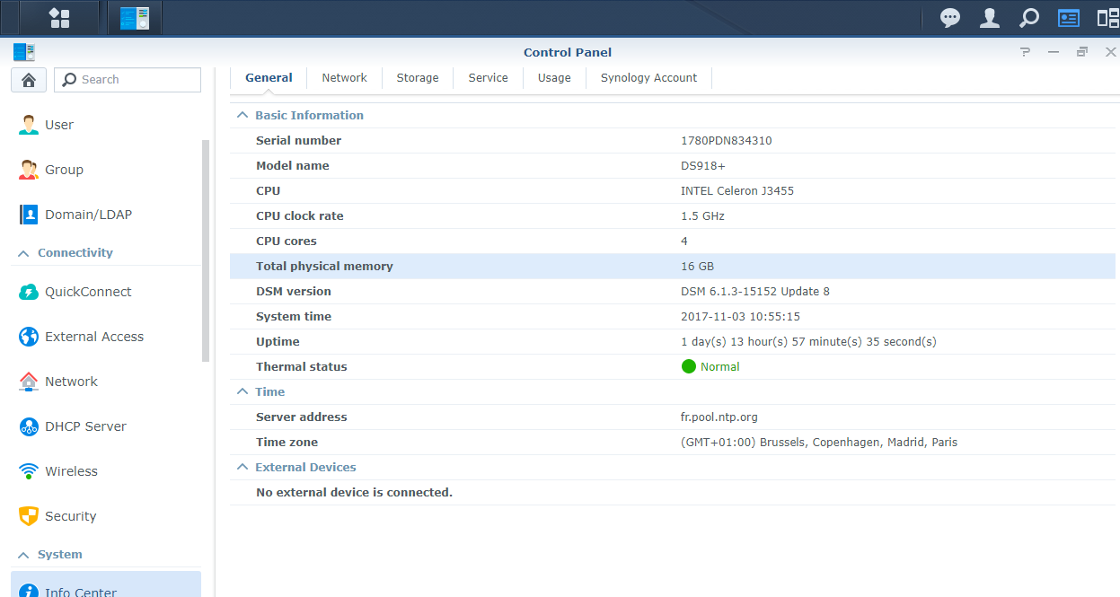 Synology DS918+ SystemInfo