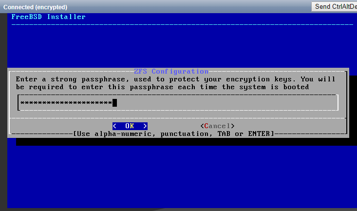 Enter the passphrase that will protect the disk